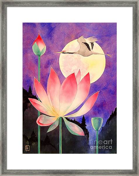 Lotus And Crane Framed Print