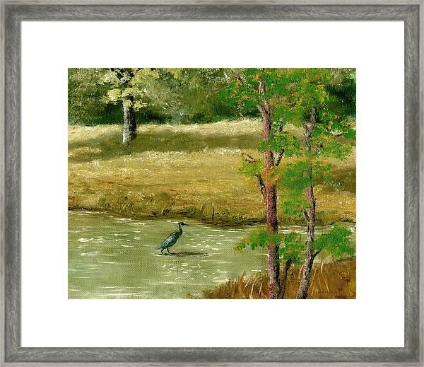 Louisiana Pond With Heron Framed Print