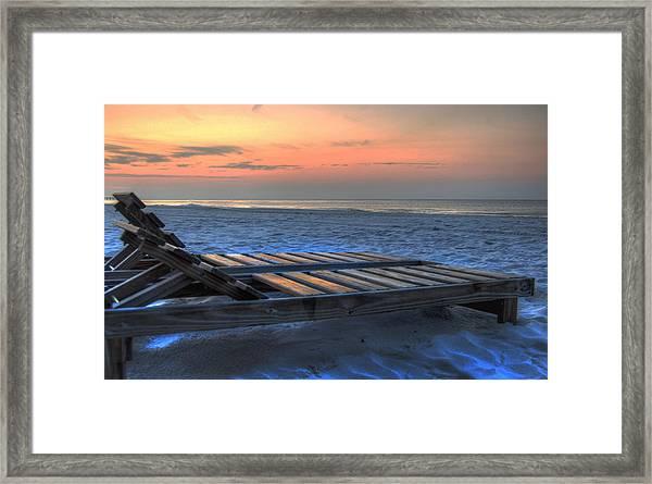 Lounge Closeup On Beach ... Framed Print