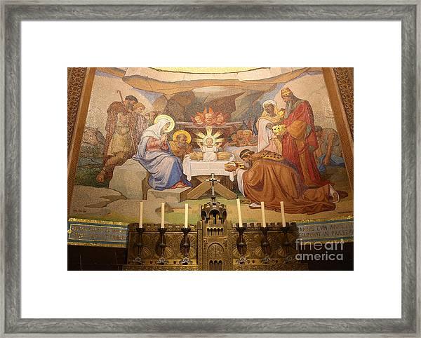 Lourdes Altar With Nativity Scene Framed Print