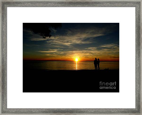 Love At Sunset Framed Print