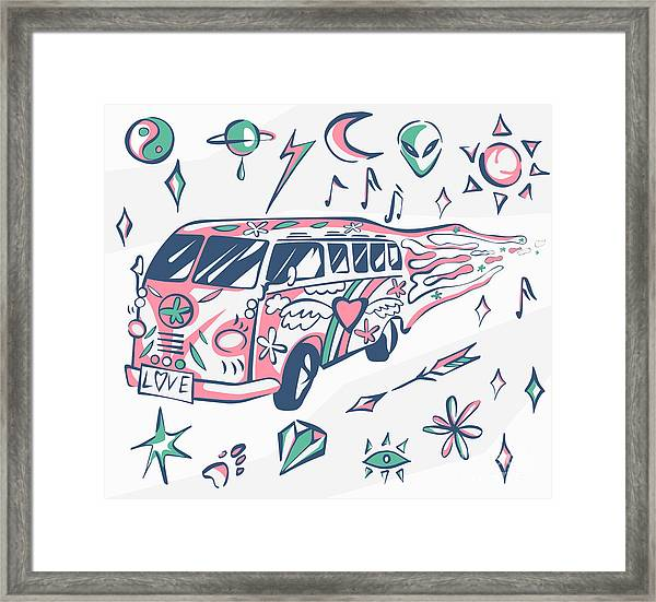 Love Bus Vector Poster. Hippie Car Framed Print