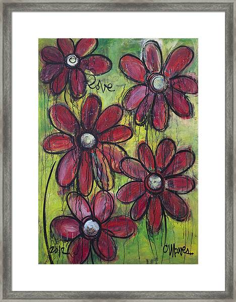 Framed Print featuring the painting Love For Five Daisies by Laurie Maves ART