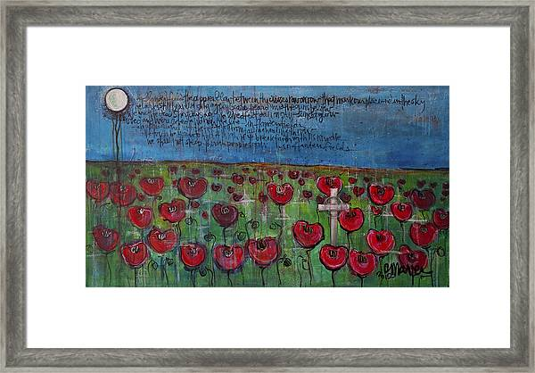 Framed Print featuring the painting Love For Flanders Fields Poppies by Laurie Maves ART