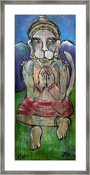Framed Print featuring the painting Love For Hanuman by Laurie Maves ART
