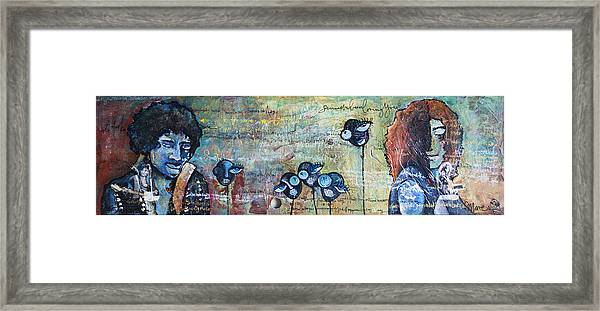 Framed Print featuring the painting Love For Jimi And Jimmy by Laurie Maves ART