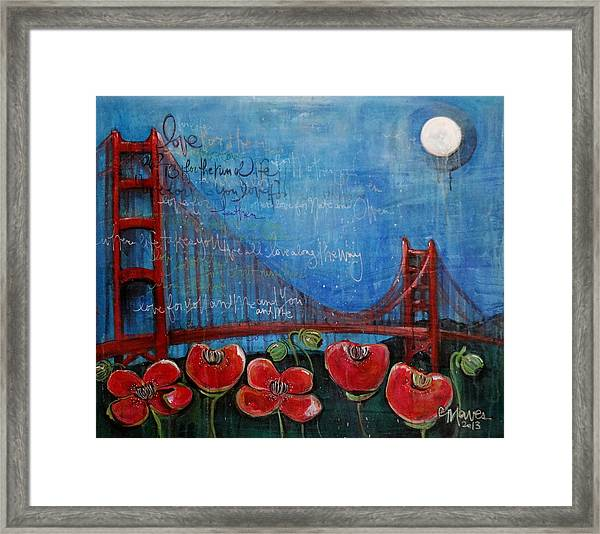 Framed Print featuring the painting Love For San Francisco by Laurie Maves ART