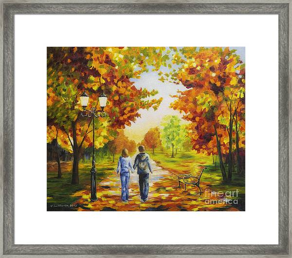 Love In Autumn Framed Print