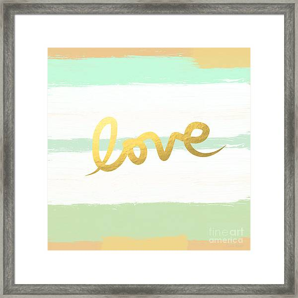 Love In Mint And Gold Framed Print