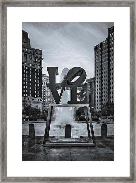 Framed Print featuring the photograph Love Park Bw by Susan Candelario