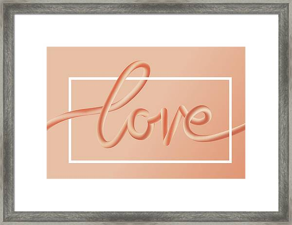 Love Text Lettering In Red Color Framed Print
