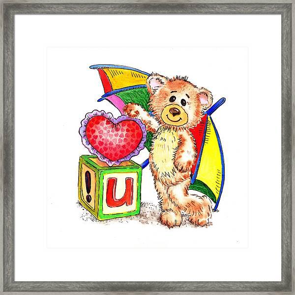 Love You Teddy Bear Framed Print