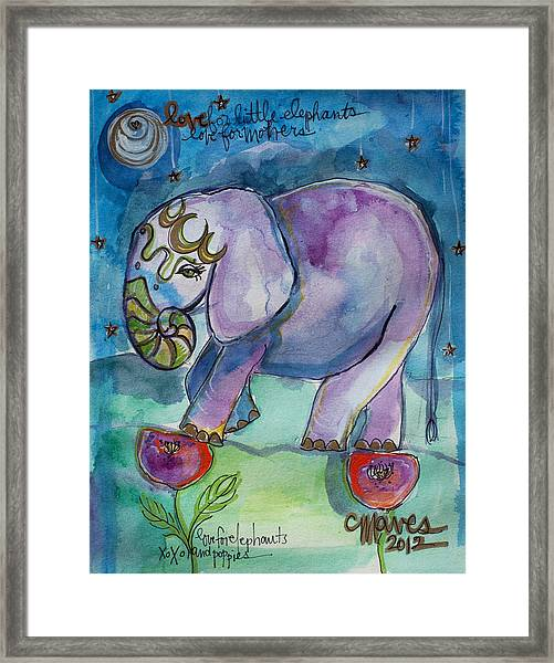 Framed Print featuring the painting Lovely Little Elephant2 by Laurie Maves ART
