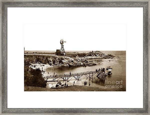 Lovers Point Beach And Old Wooden Pier Pacific Grove August 18 1900 Framed Print
