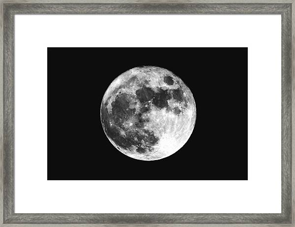 Low Angle View Of Moon Against Clear Sky At Night Framed Print by Mark Sutton / EyeEm