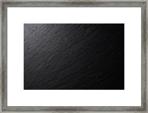 Low Lighting Black Slate Texture Framed Print by MirageC