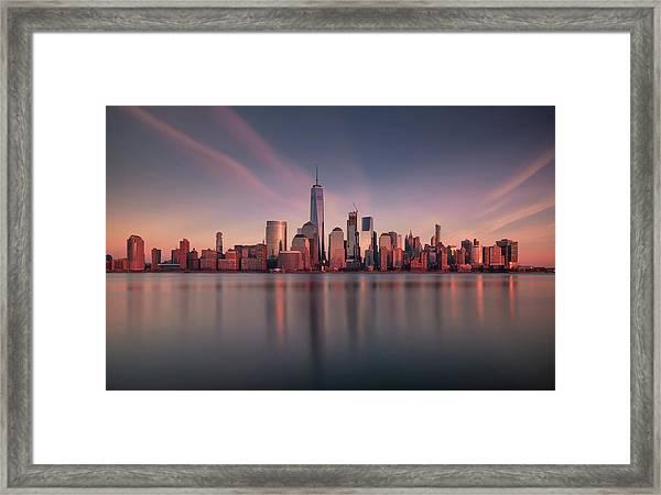 Lower Manhattan At Dusk Framed Print