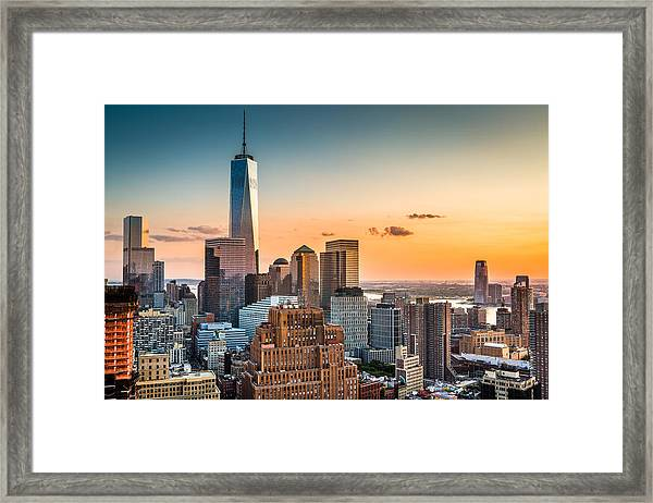 Lower Manhattan At Sunset Framed Print