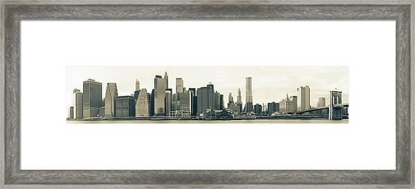 Lower Manhattan Skyline Panorama Framed Print