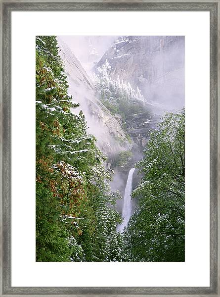 Lower Yosemite Falls After A Spring Storm Framed Print by Richard Berry