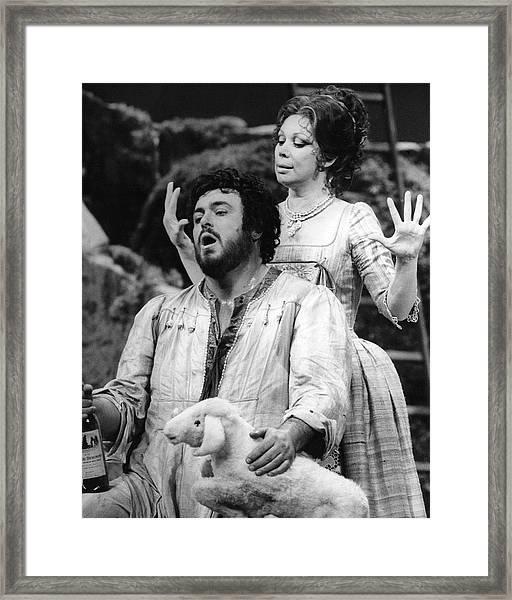 Luciano Pavarotti And Mirella Freni Framed Print