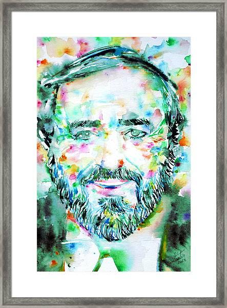 Luciano Pavarotti - Watercolor Portrait Framed Print