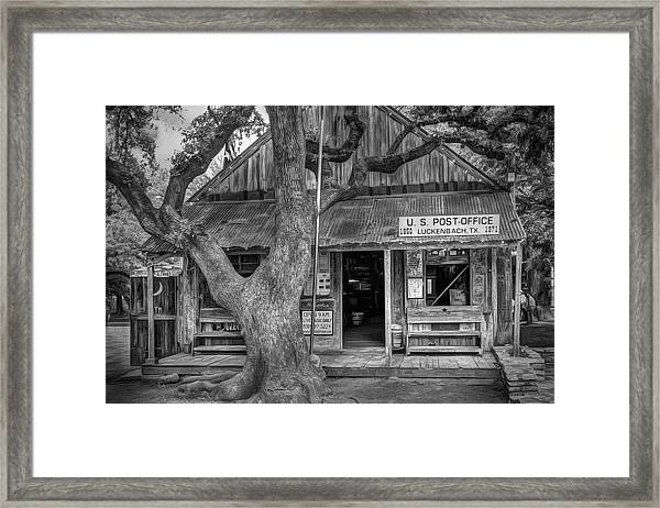 Luckenbach 2 Black And White Framed Print