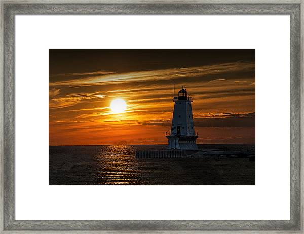 Ludington Pier Lighthead At Sunset Framed Print