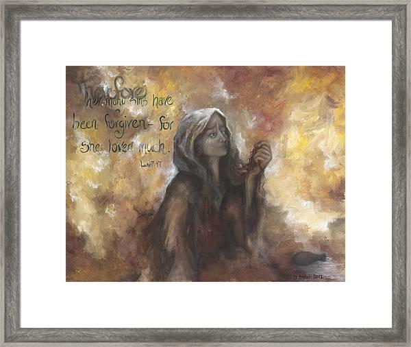 Luke 7 Verse 47 Forgiveness Framed Print