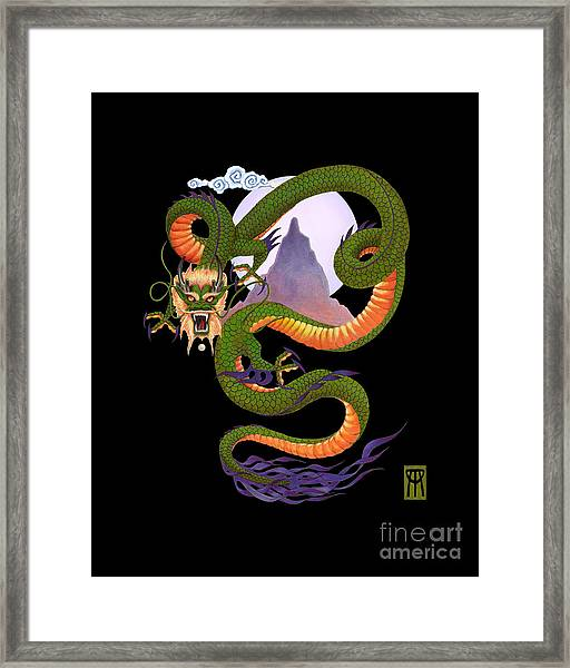 Lunar Chinese Dragon On Black Framed Print