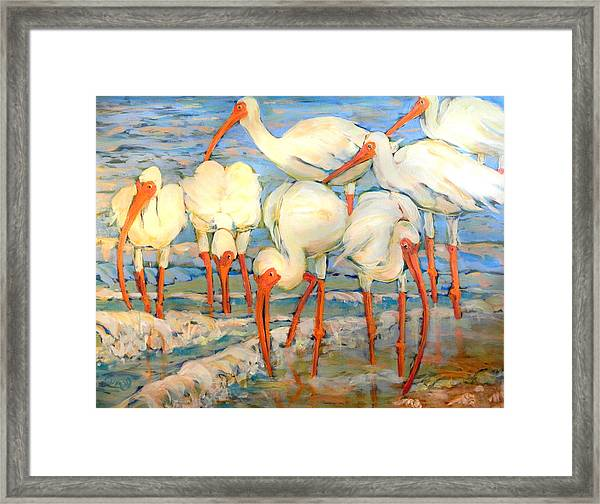 Lunch On The Beach With Friends  Framed Print
