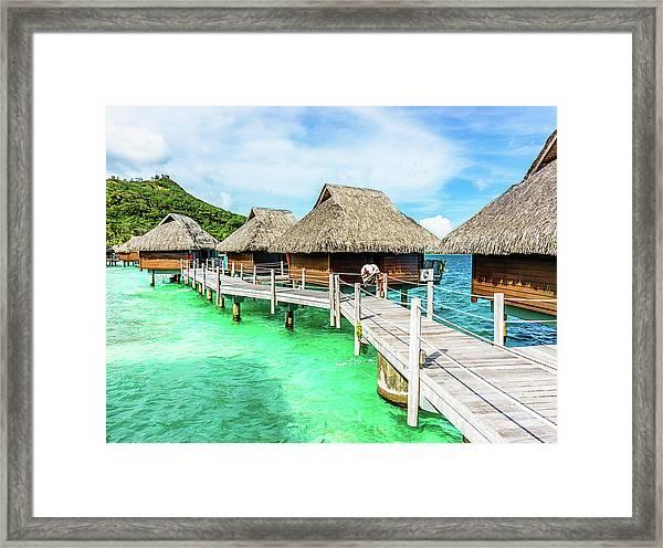 Luxury Hotel Resort Beach Huts Polynesia Framed Print