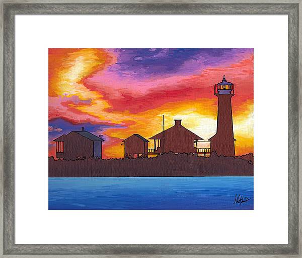 Lydia Anne Lighthouse At Sunset Framed Print