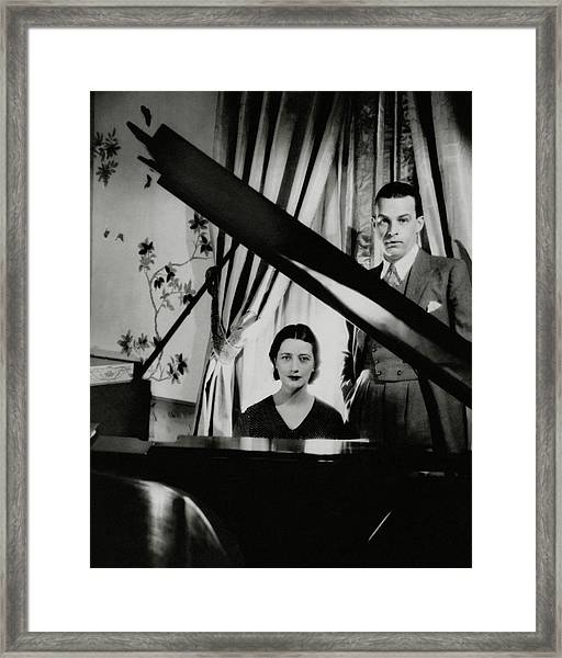 Lynn Fontanne And Alfred Lunt At A Piano Framed Print by Cecil Beaton