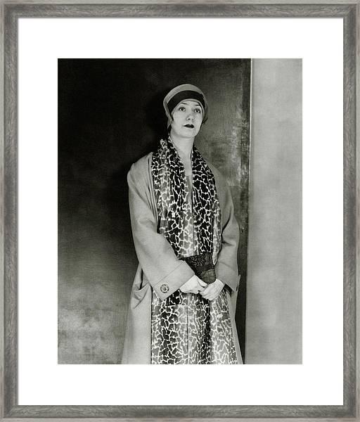 Lynn Fontanne Wearing A Scarf Framed Print