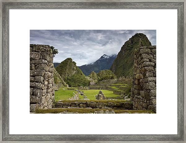 Machu Picchu Through The Roof Framed Print