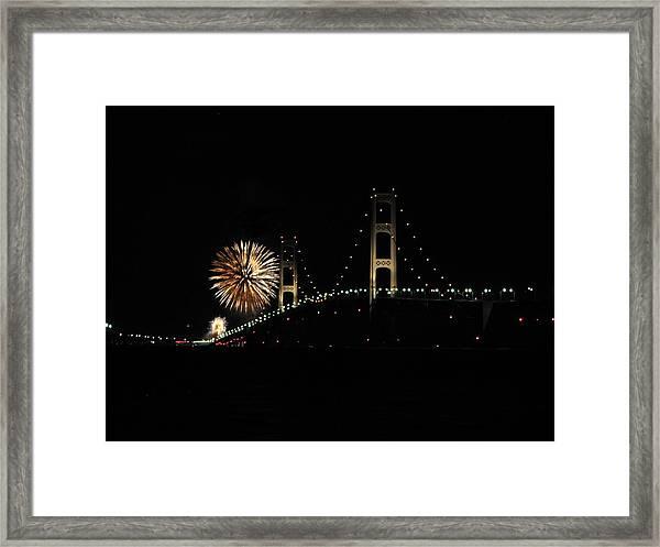 Mackinac Bridge 50th Anniversary Fireworks Framed Print
