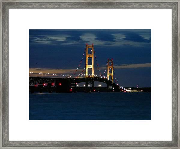 Mackinac Bridge At Dusk Framed Print