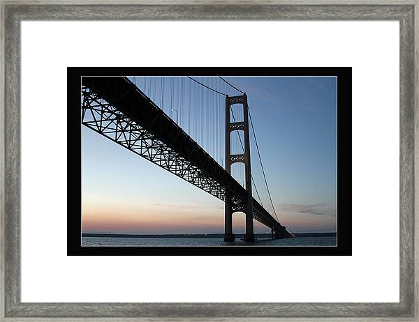 Mackinac Bridge At Sunset Framed Print