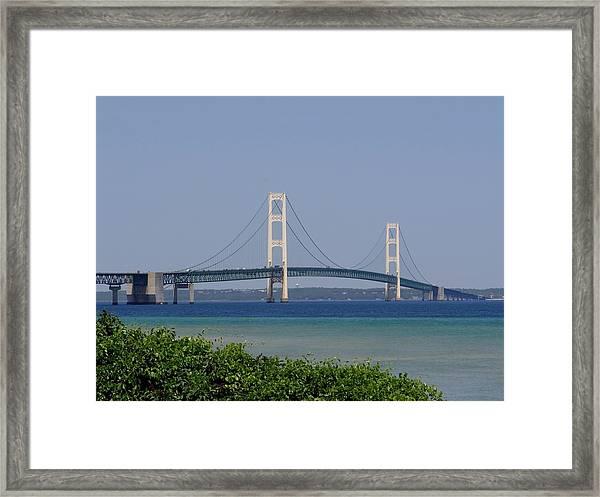 Mackinac Bridge Blue Framed Print