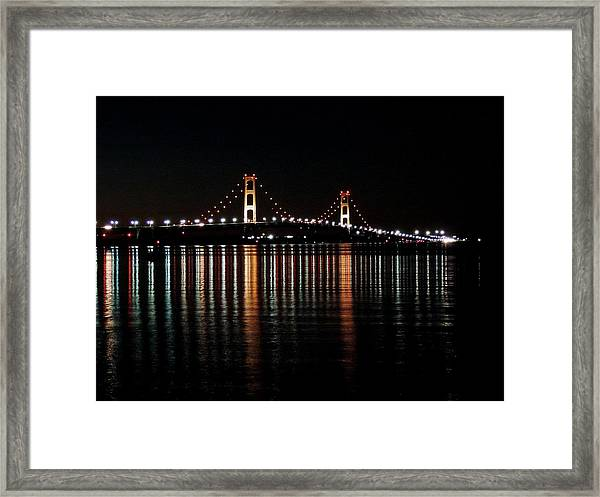 Mackinac Bridge Lights Framed Print
