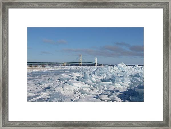 Mackinac Bridge With Ice Windrow Framed Print