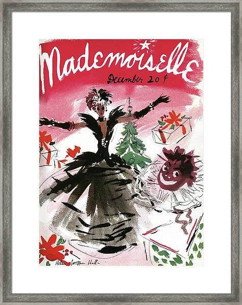 Mademoiselle Cover Featuring A Doll Surrounded Framed Print