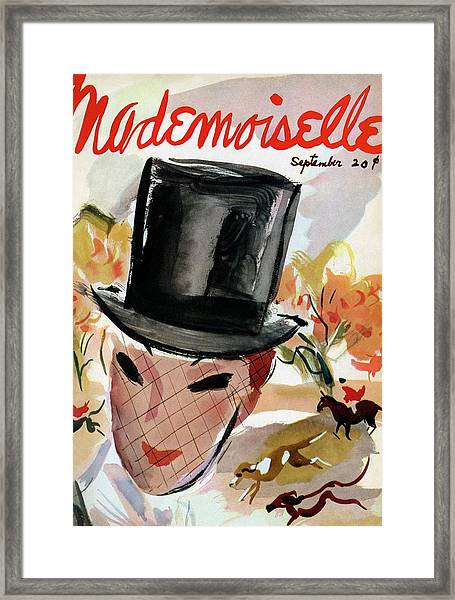 Mademoiselle Cover Featuring A Female Equestrian Framed Print