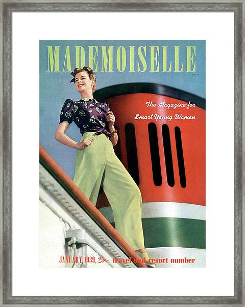 Mademoiselle Cover Featuring A Model Aboard Framed Print
