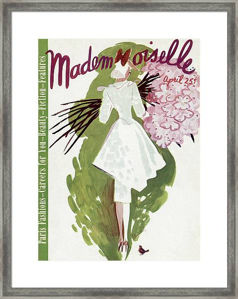 Mademoiselle Cover Featuring A Woman Carrying Framed Print