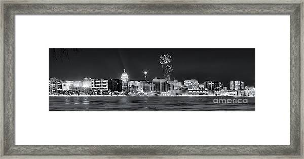 Madison - Wisconsin -  New Years Eve Panorama Black And White Framed Print