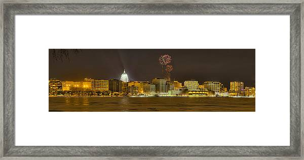 Madison Skyline New Years Eve Framed Print