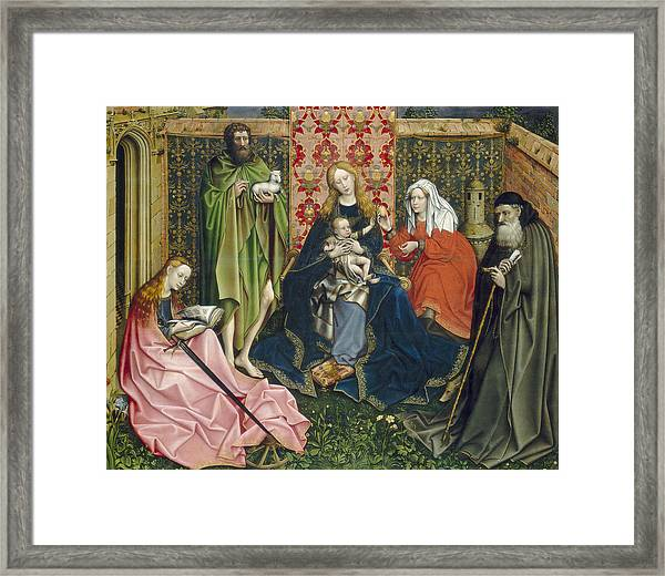 Madonna And Child With Saints In The Enclosed Garden Framed Print