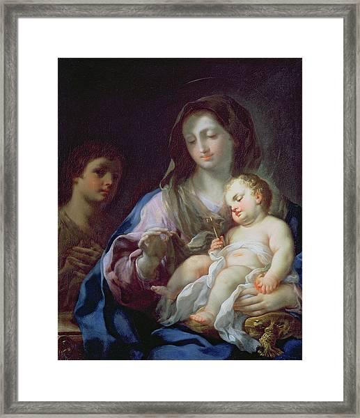Madonna And Child With St. John Framed Print